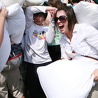 Participants take part in International Pillow Fight Day on The National Mall in Washington, DC on Saturday, April 3, 2010.