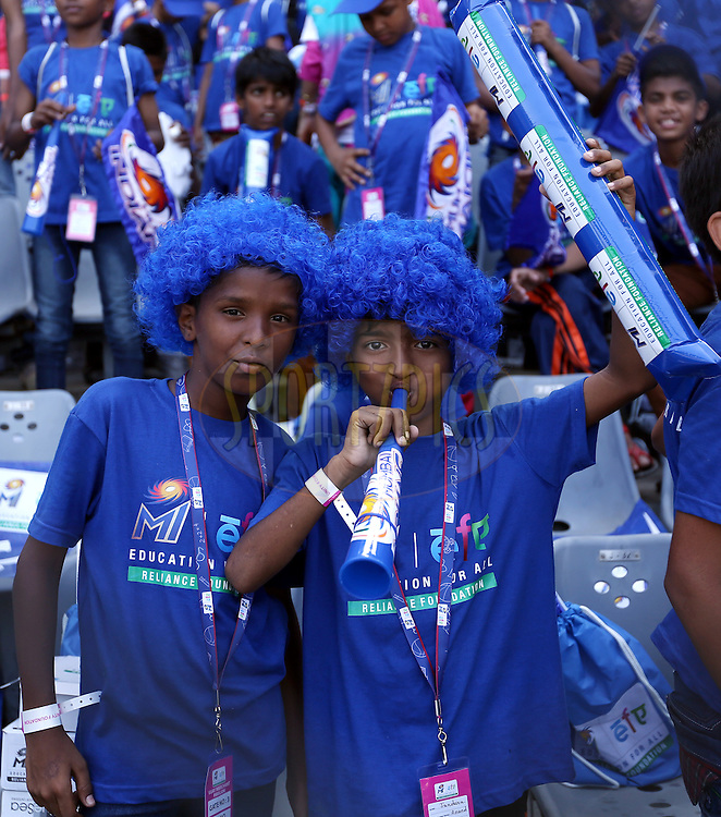 Kids from EFA (Eduction for all )an initiative of Mumbai Indians  during match 23 of the Pepsi IPL 2015 (Indian Premier League) between The Mumbai Indians and The Sunrisers Hyferabad held at the Wankhede Stadium in Mumbai India on the 25th April 2015.<br /> <br /> Photo by:  Sandeep Shetty / SPORTZPICS / IPL