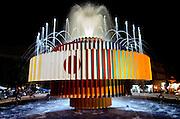 A night shot of Agam?s fountain at Dizengoff circle, Tel Aviv, Israel November 2005