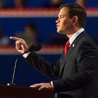 Florida Senator MARCO RUBIO, whom many consider a presidential candidate for the Republican Party, addresses the Republican National Convention audience during day four of the RNC at the Tampa Bay Times Forum in Tampa Thurs. Aug. 31, 2012. Florida Annual Report Photography, Florida Commercial Photography, Corporate Event Photography Republican Party, GOP