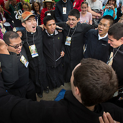 Lisa Johnston | lisajohnston@archstl.org  | Twitter: @aeternusphoto  Seminarians from the Institute of the Incarnate Word near Washington, D.C. shouted chant songs to excite the crowds waiting for Pope Francis. Some camped out overnight to be near the barriers to catch a glimpse of Pope Francis who will celebrated the closing Mass of the World Meeting of Families in Philadelphia. Crowds are expected to be between 1-1.5 million on the Ben Franklin Parkway.