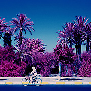 Infrared photograph of Marrakesh street scene, Morocco.