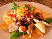 Grilled seafood appetizer; Matangi Private Island Resort, Fiji.