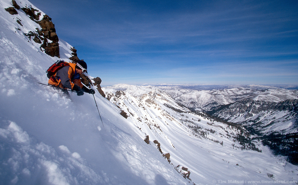 Brad Bardlage skis from the summit of Mt. Superior in the Wasatch Range of Utah near Salt Lake City.