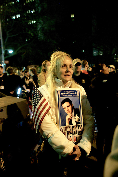 The death of Osama Bin Laden was announced by President Obama right before the midnight of May 1, 2011.  The pictures were taken right after the announcement at the Ground Zero in New York City.
