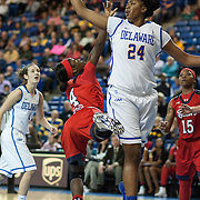 St. John's Guard Aaliyah Lewis (4) drives to the basket as Delaware Forward Joy Caracciolo (24) defends in the second half of a NCAA regular season non-conference game between Delaware (CAA) and St. John's (Big East) Monday, Dec 30, 2013 at The Bob Carpenter Sports Convocation Center in Newark Delaware.