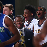 Sanford Warriors Head Coach STAN WATERMAN, CENTER, and his players celebrates in the final seconds of a Boys Basketball DIAA State Tournament Finals match between the Sanford Warriors and the St. Georges Hawks Saturday, Mar. 12, 2016, at The Bob Carpenter Sports Convocation Center in Newark, DEL.