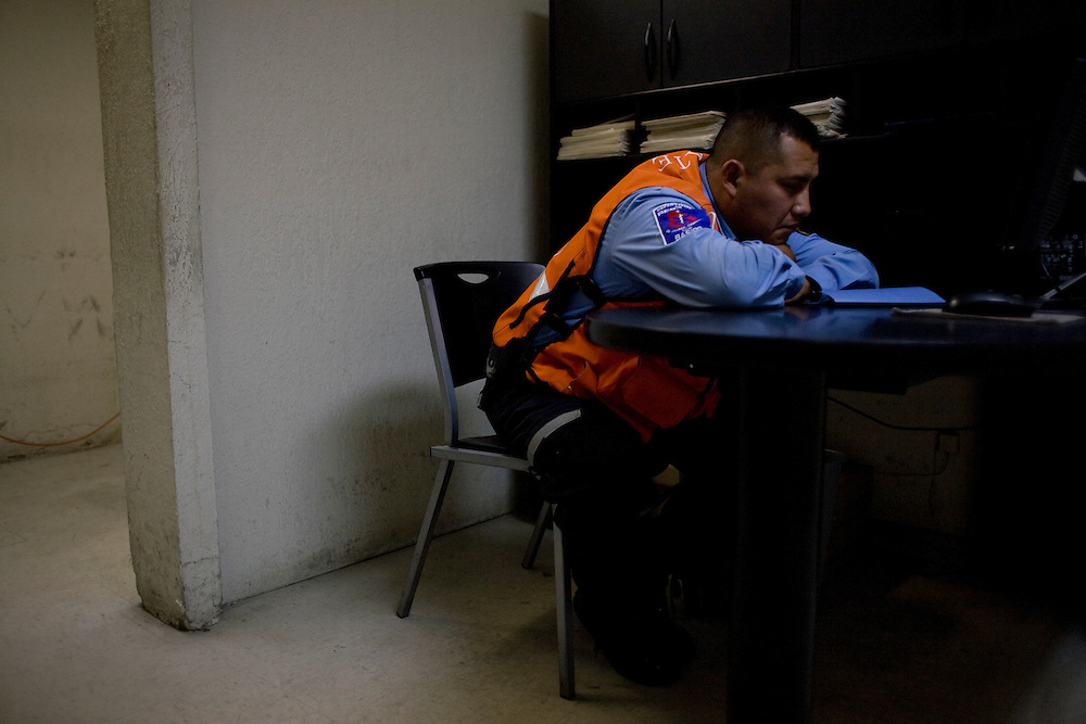 A paramedic waits for something to happen at their base in the center of Ciudad Juarez, Chihuahua Mexico on May 5, 2010. ..