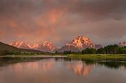 Sunrise over Mount Moran at Oxbow Bend, Grand Teton National Park Wyoming