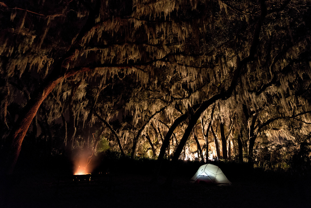 Camping beneath the live oak trees at Hopkins Prairie in the Ocala National Forest