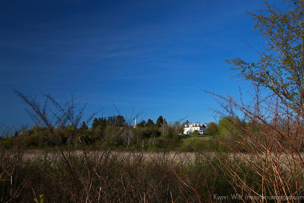 North America, Canada, Nova Scotia, Guysborough. View of DesBarres Manor Inn in Guysborough, from the Trans-Canada Trail.