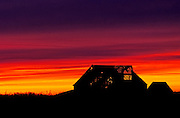 Image of an abandoned barn at sunset in Missouri, American Midwest