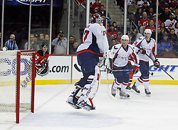 December 7, 2007; Newark, NJ, USA;  Washington Capitals goalie Olaf Kolzig (37) makes a save against the New Jersey Devils during the second period at the Prudential Center in Newark, NJ.
