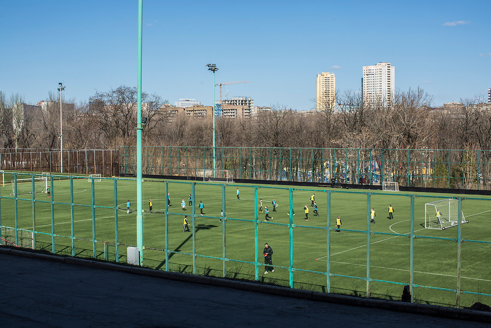 Children play soccer on Friday, April 10, 2015 in Donetsk, Ukraine.