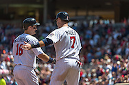 Josh Willingham #16 of the Minnesota Twins is congratulated by Joe Mauer #7 after hitting a home run against the Seattle Mariners on June 2, 2013 at Target Field in Minneapolis, Minnesota.  The Twins defeated the Mariners 10 to 0.  Photo: Ben Krause