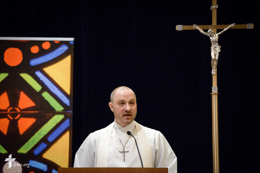 The Rev. Michael Salemink, executive director of Lutherans For Life, reads during worship on Friday, Jan. 27, 2017, in Arlington, Va. LCMS Communications/Erik M. Lunsford