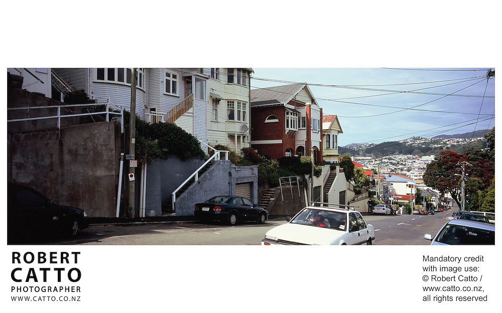 Typical houses and street scenes of Wellington, New Zealand. at Mt Victoria, Wellington, New Zealand.