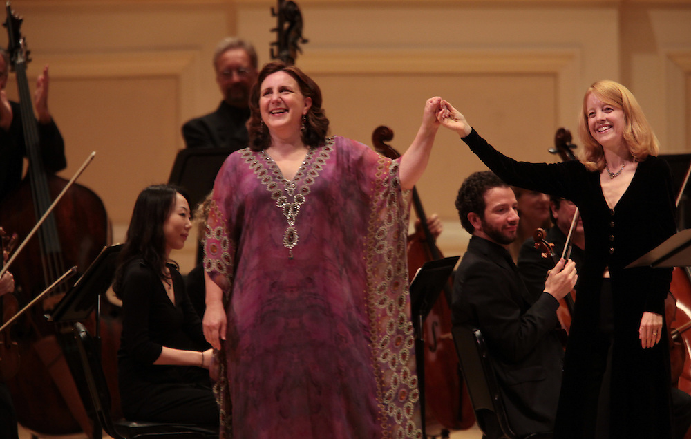 Soprano Dawn Upshaw with conductor Maria Schneider and The Saint Paul Chamber Orchestra performing Carlos Drummond de Andrade Stories for soprano and chamber orchestra by Maria Schneider at the Spring for Music festival at Carnegie Hall in Manhattan, New York on May 13, 2011.