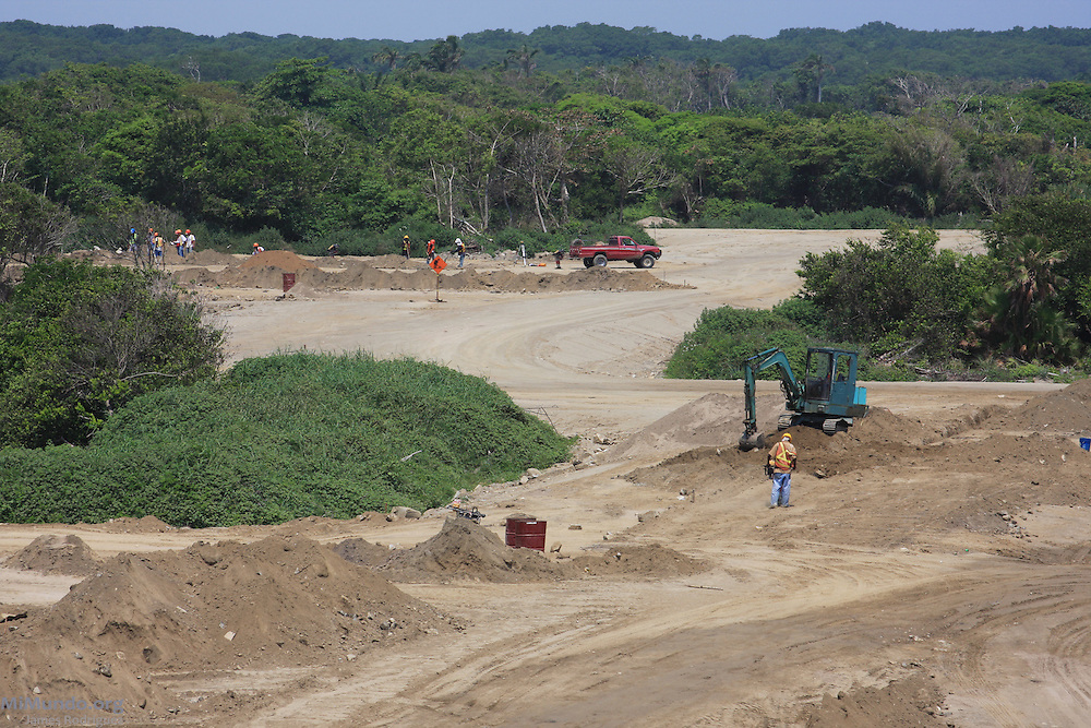 The construction of the Los Micos Beach and Golf Resort has devastated the protected reserve and displaced local Garifuna communities. Garifuna communities, descendants of shipwrecked would-be African slaves, have inhabited most of the Central American Atlantic coast for over 200 years. Since the mid 1990's, mega-tourism projects threaten the continuity of the communities and the UNESCO-declared world heritage Garifuna culture and language as well. Tela, Atlántida, Honduras, April 2009.