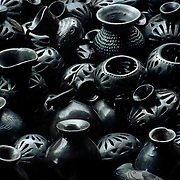 Close up of black clay ceramics. Oaxaca, Mexico.