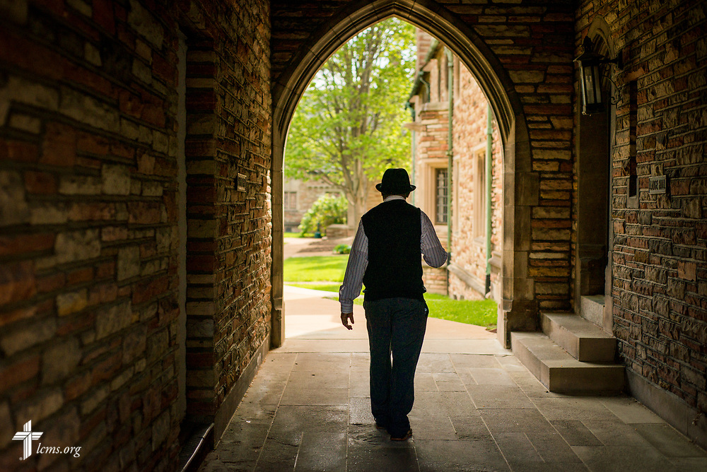 The Rev. Dr. John Loum, director, Ethnic Immigrant Institute of Theology and new career missionary to Africa, walks to his office on Wednesday, April 19, 2017, at Concordia Seminary, St. Louis. LCMS Communications/Erik M. Lunsford