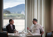 Australian Parliment House Canberra. Tim Stephens's manager of the guest's dining room discusses the menu with chef de Partie Nathan Cooper in the guest's dining room
