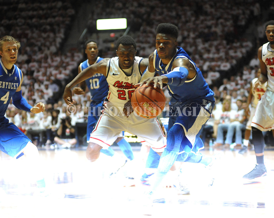 "Ole Miss' Nick Williams (20) vs. Kentucky's Nerlens Noel (3) at the C.M. ""Tad"" Smith Coliseum on Tuesday, January 29, 2013."