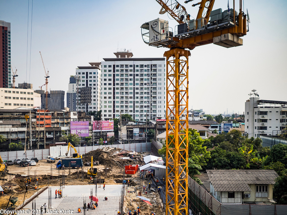 06 FEBRUARY 2017 - BANGKOK, THAILAND:  A new condominium development being built at the southwest corner of Rama IV and Sukhumvit Road in Bangkok, next to the Phra Khanong BTS Station.      PHOTO BY JACK KURTZ