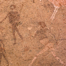 "Detail of rock paintings including the figure named ""The White Lady"", Brandberg Mountain, Damaraland, Namibia  Africa"