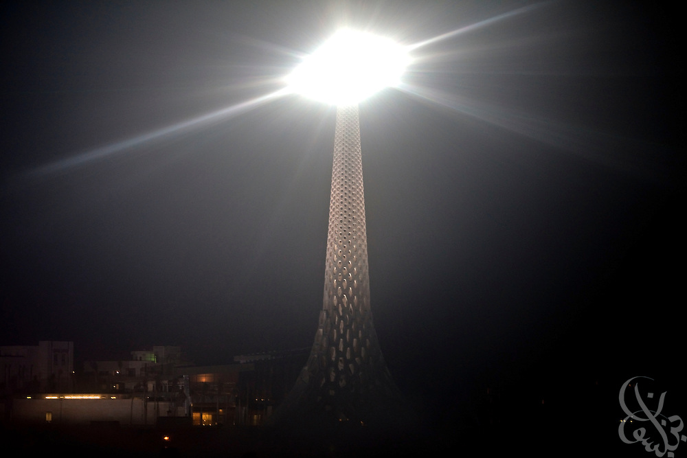 The Breakwater Beacon is illuminated during the inauguration of King Abdullah University of Science and Technology (KAUST) on September 23, 2009, in Thuwal, Saudi Arabia (80 kilometers north of Jeddah). KAUST is a graduate-level research institution that has attracted top scientists and students from around the world. (Photo by Scott Nelson)