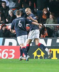 Falkirk's Farid El Alagui celebrates after scoring their first goal..Half-time. Dundee Utd 1 v 1 Falkirk. Scottish Communities League Cup, 25/10/2011..Pic © Michael Schofield.