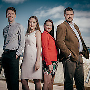 Group portrait of Scottish Opera Emerging Artists - Lliam Paterson: Composer, Emma Kerr: Soprano, Jennifer France: Soprano, Ben McAteer: Baritone.
