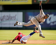 CULIACAN, MEXICO - FEBRUARY 4, 2017: Jesmuel Valentin #2 of Puerto Rico slides safely into second against Anderson Hernandez #12 of the Dominican Republic during the Caribbean Series game between the Dominican Republic and Puerto Rico at Estadio de los Tomateros on February 4, 2017 in Culiacan, Rosales. (Photo by Jean Fruth)