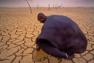 At the height of the dry season in Mali, lakes evaporate.  Here a health worker lifts slabs of mud to look for moisture as winds whip across the lake bed.