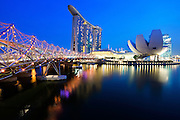 Night View of Marina Bay Sand and the Helix Bridge of Singapore