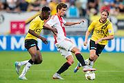 BREDA - NAC - Jong Ajax , Voetbal , Seizoen 2015/2016 , Jupiler league , Rat Verlegh Stadion , 21-08-2015 , Jong Ajax speler Lucas Andersen (m) in duel met NAC Breda speler Divine Naah (l) en NAC Breda keeper Ronnie Stam (r)