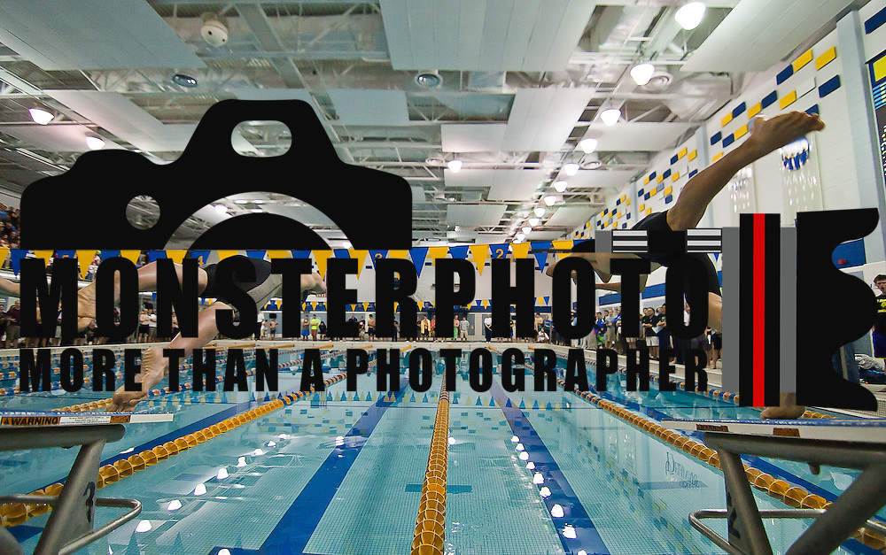 022512 Newark DE: Salesianum swimmers Michael Barboun (left) and Salesianum swimmers Robbie Dickson dive into the pool during the start of the 500 yard freestyle competitions at the Boys swimming and diving state tournament Saturday, Feb. 25, 2012.<br /> <br /> Special to The News Journal/SAQUAN STIMPSON