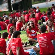 Freshmen talk in small groups during New Student Orientation 2012. (Photo by Rajah Bose)