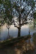 Paris . Flooding . The Seine river  at  the quay de la Tournelle, in the distance Saint Louis island