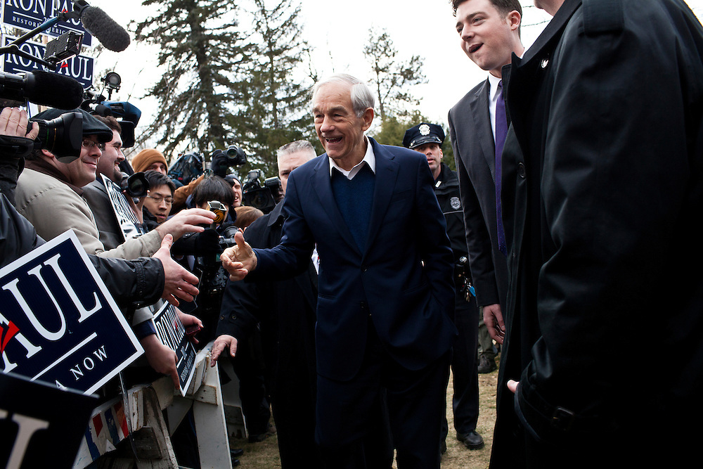Republican presidential candidate Ron Paul campaigns at the Webster School polling location on Tuesday, January 10, 2012 in Manchester, NH. Brendan Hoffman for the New York Times