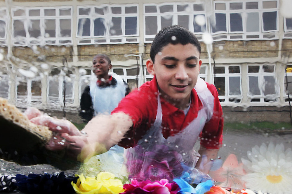 Car washing for charity at Queens Park School
