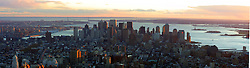 A panorama pic of downtown area of New York, several months after the attack on the World Trade Centre on September 11, 200, as seen from the top top The Empire State Building..Images of the city of New York, United States of America, taken between 20th-22nd November, 2001..©Michael Schofield.