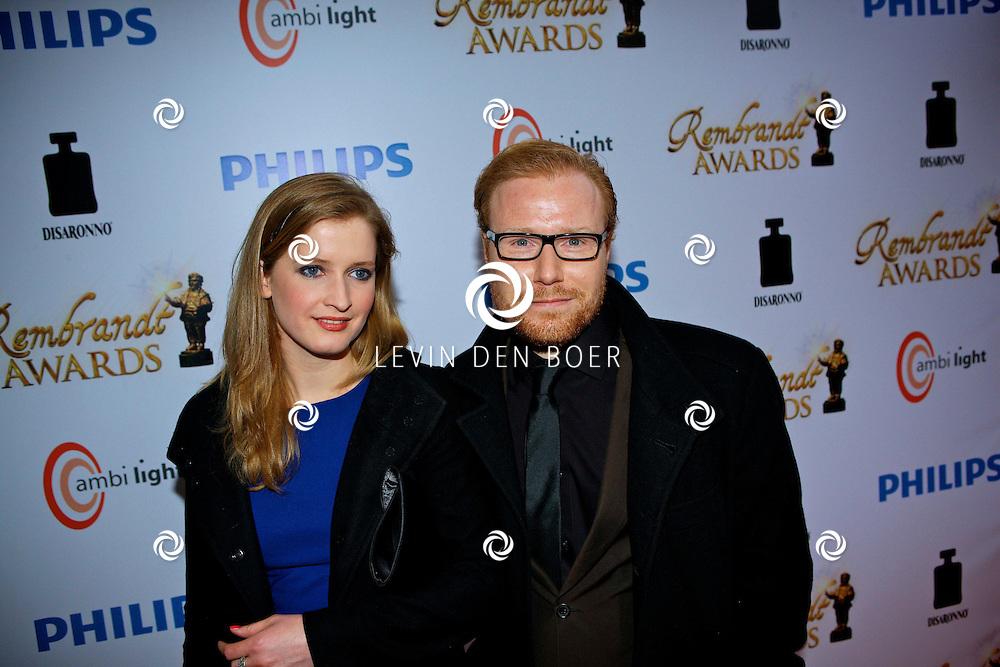 AMSTERDAM - In discotheek De Escape op het Rembrandtplein zijn weer de Rembrandt Awards 2012 uitgereikt.  Met op de foto Jochum ten Haaf en een vriendin. FOTO LEVIN DEN BOER - PERSFOTO.NU