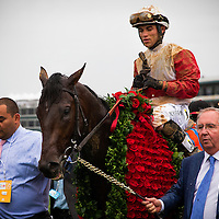 Orb with Joel Rosario is led into the winners circle by trainer Shug McGaughey after winning the Kentucky Derby at Churchill Downs in Louisville, KY on May 04, 2013. (Alex Evers/ Eclipse Sportswire)