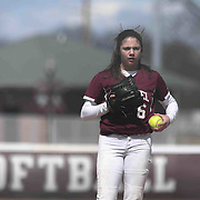 Caravel Academy Pitcher Holly Brooks (6) pitching in the first inning of a varsity scheduled game between Caravel Academy and The Delmar Wildcats Saturday, April 4, 2015, at Caravel Athletic Field in Bear Delaware.