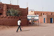 "Agadez city, Niger. A warning sign says : Not a step without a Visa. The african migrants are officially "" illegals""."