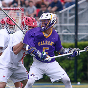 Albany Midfielder CONNOR FIELDS (5) in action during the second half of a 2017 NCAA Division I Men's Lacrosse Quarterfinals game between #1 Maryland and #8 Albany Sunday, May. 21, 2017 at Delaware Stadium in Newark, Delaware.