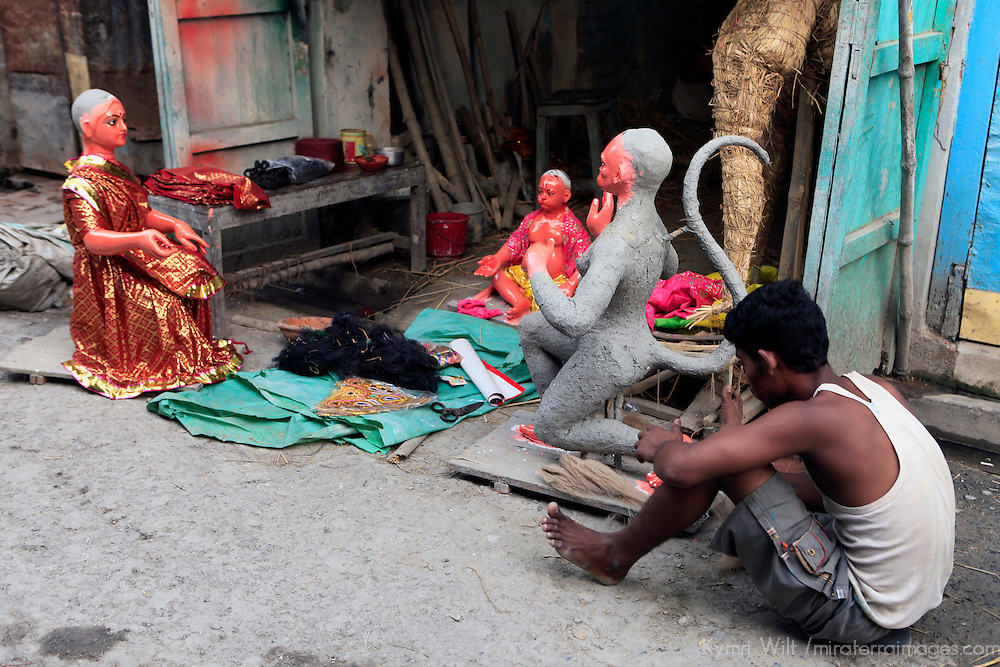 Asia, India, Calcutta. Scene from the potter's village of Kumartuli in Calcutta.