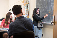 Professor Bulbul Chakraborty teaching a physics class at Brandeis University in Waltham, MA.