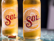 London, England - September 03, 2016: Bottles of Sol Beer, Brewed in Mexico since 1988.